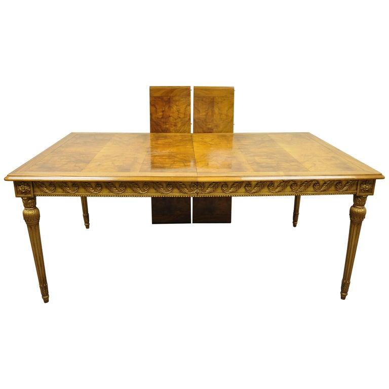 Italian Neoclassical Burl Wood Walnut Gold Giltwood Dining