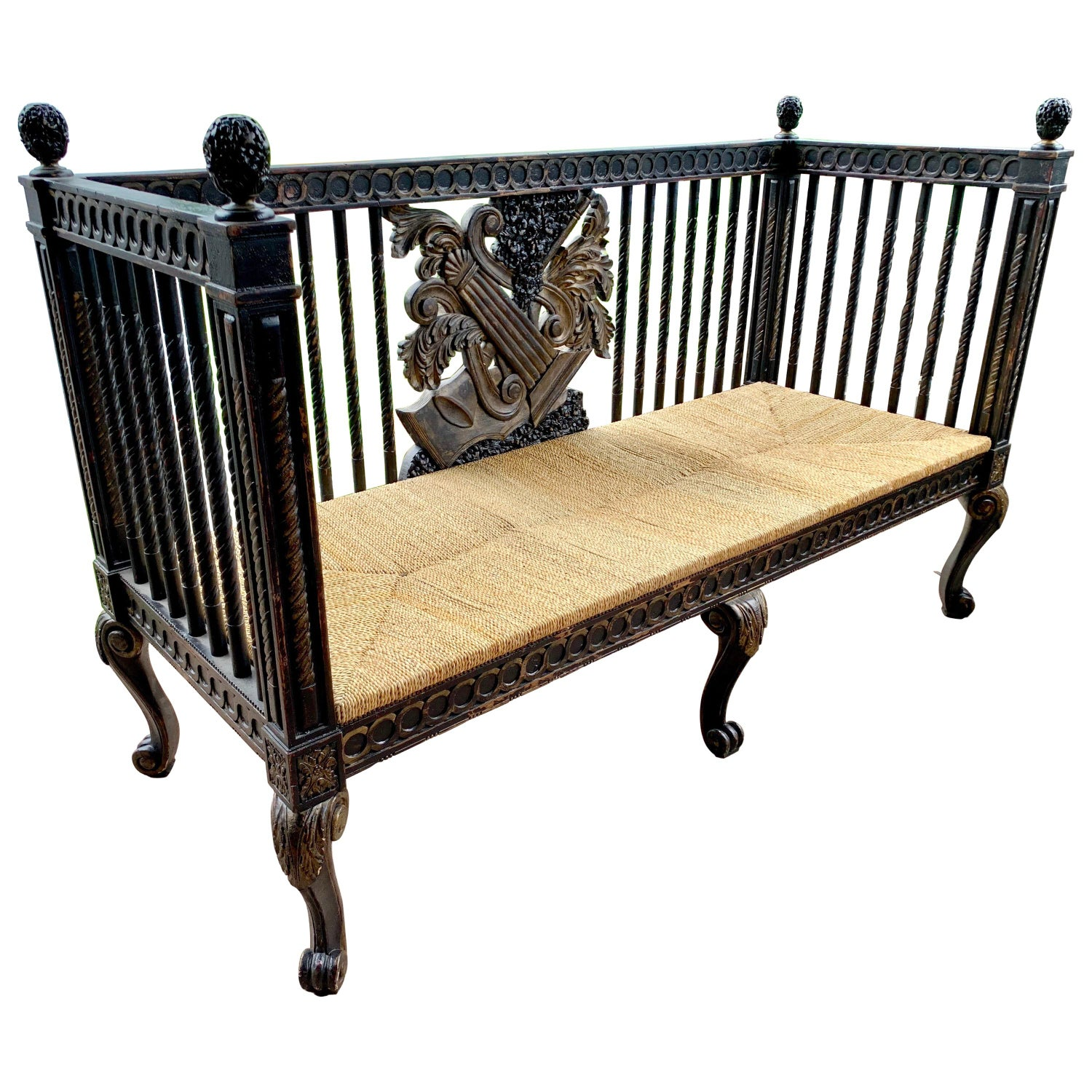 Cool Italian Neoclassical Carved Black And Gold Settee Bench Gmtry Best Dining Table And Chair Ideas Images Gmtryco