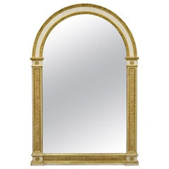 Italian Neoclassical Carved Gold Gilt Arched Top Large Trumeau Console Mirror