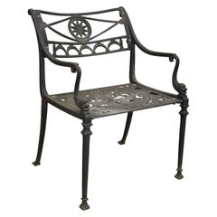 Italian Neoclassical Cast Aluminum Swan Garden Armchair Attributed to Molla