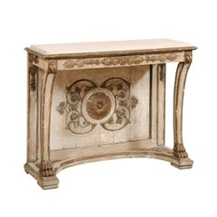 Italian Neoclassical Console Table with Parcel Gilt and Stone Top, circa 1830