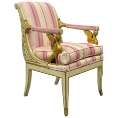 Italian Neoclassical Cream and Gold Parcel Gilt Armchair Winged Maiden Griffins