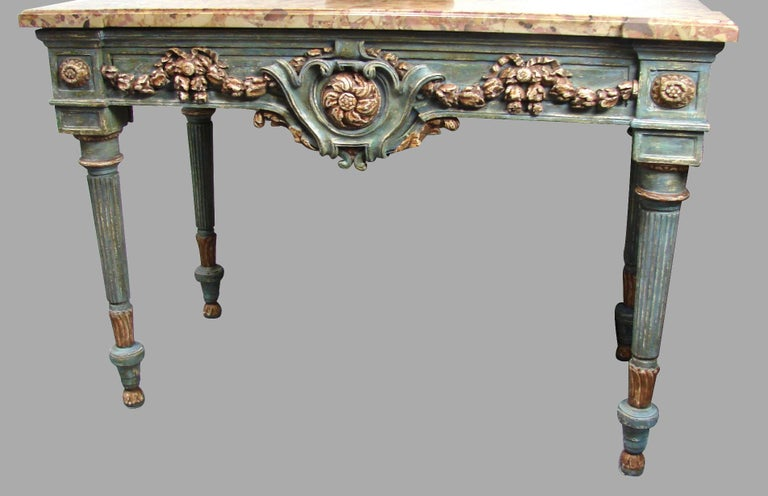 Italian Neoclassical Cream and Grey Painted Marble Top Console Table In Good Condition For Sale In San Francisco, CA