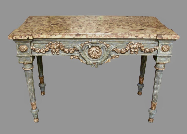 18th Century Italian Neoclassical Cream and Grey Painted Marble Top Console Table For Sale