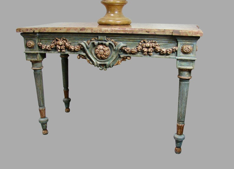 Italian Neoclassical Cream and Grey Painted Marble Top Console Table For Sale 2