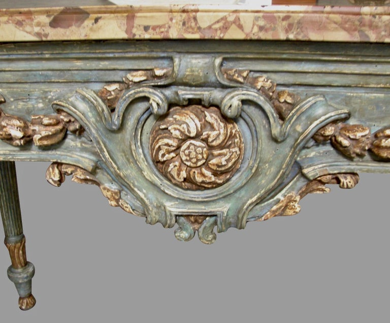 Italian Neoclassical Cream and Grey Painted Marble Top Console Table For Sale 3
