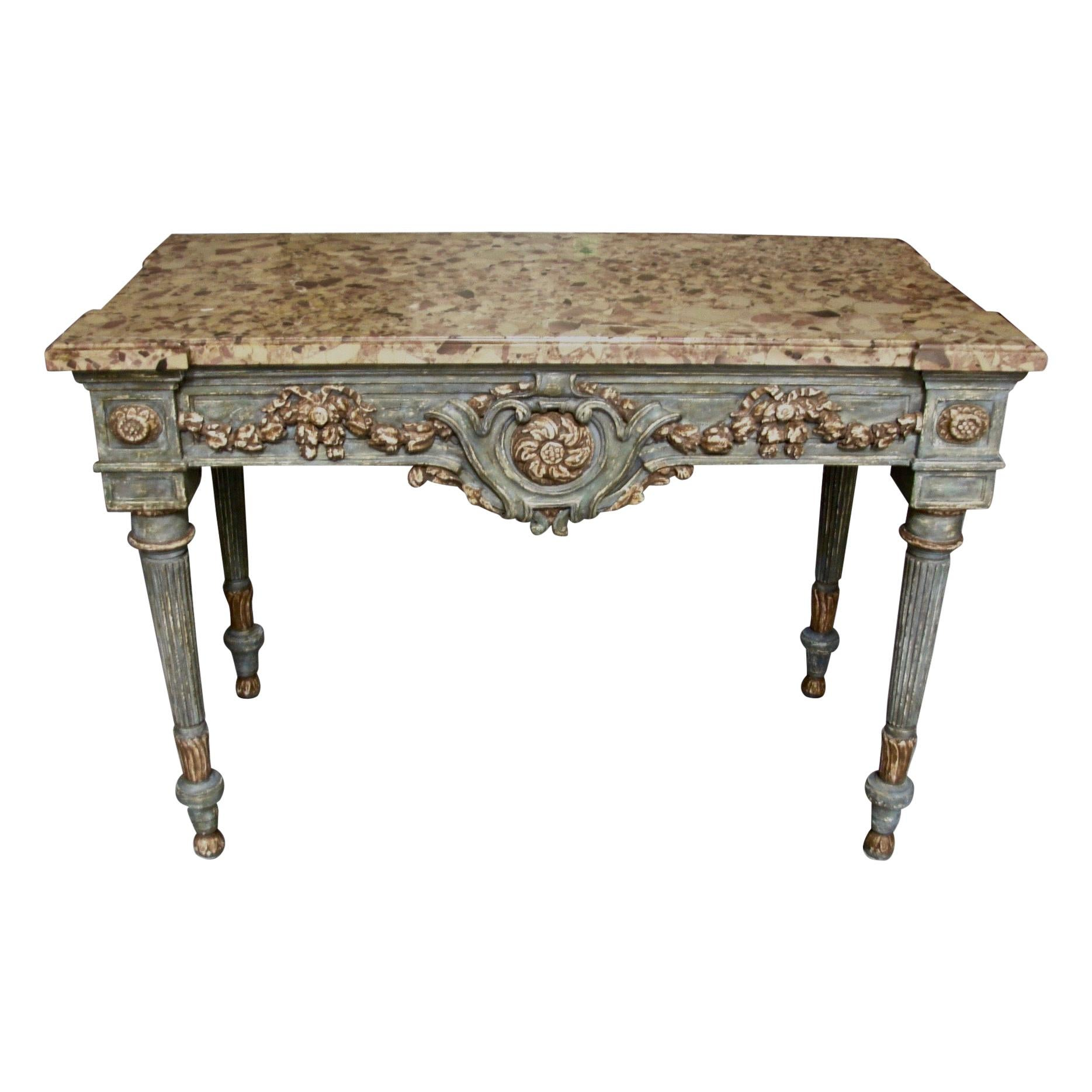 Italian Neoclassical Cream and Grey Painted Marble Top Console Table