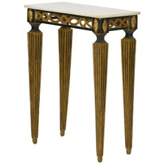 Italian Neoclassical Ebony Painted Marble-Top Console Table, 19th Century