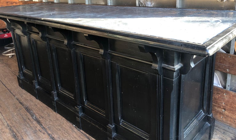 Italian Neoclassical Executive Writing Desk with Zinc Top, circa 1950s For Sale 4