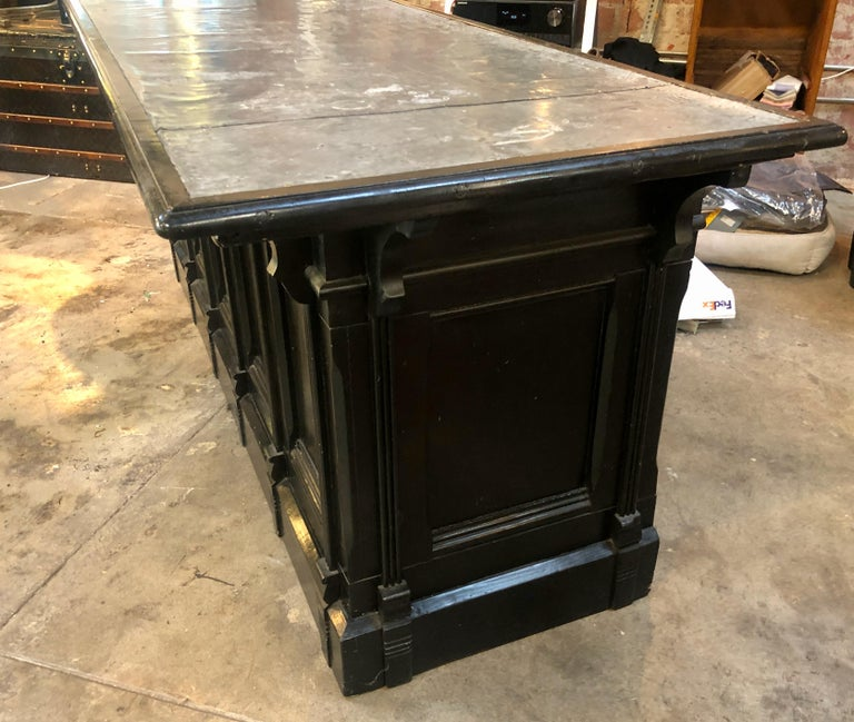 Mid-Century Modern Italian Neoclassical Executive Writing Desk with Zinc Top, circa 1950s For Sale
