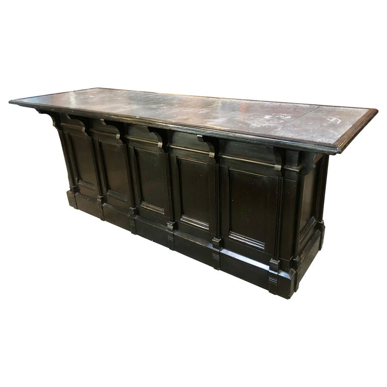 Italian Neoclassical Executive Writing Desk with Zinc Top, circa 1950s For Sale