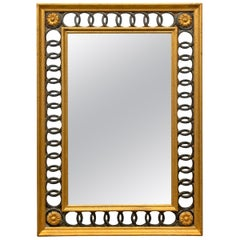 Italian Neoclassical Framed Mirror with Interlocking Rings