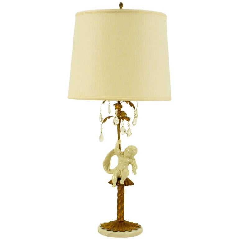 Italian Neoclassical Gilt Tole Metal, Crystal & Putto Table Lamp