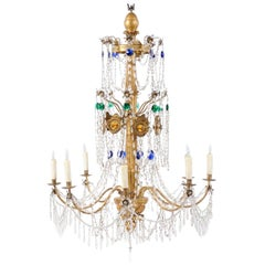 Italian Neoclassical Giltwood and Crystal 8-Light Chandelier, circa 1790