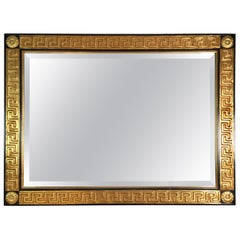 Italian Neoclassical Giltwood and Gesso Beveled Mirror