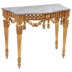 Italian Neoclassical Giltwood Console Table with Marble Top, circa 1790