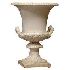 Italian Neoclassical Glazed Terracotta Campagne Urn, Gadroon Edge, circa 1920s