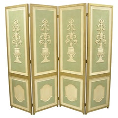 Italian Neoclassical Green Gold 4-Panel Section Carved Urn Flower Folding Screen