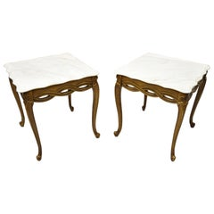 Italian Neoclassical Hollywood Regency Marble-Top Woven Ribbon End Tables, Pair