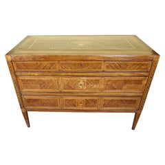 Italian Neoclassical 18th Century Inlaid Walnut 3-Drawer Commode