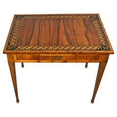 Italian Neoclassical Inlaid Walnut Table with Drawer