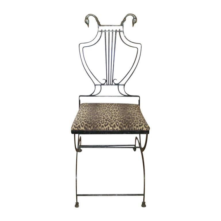 Italian Neoclassical Iron and Bronze Lyre-Back Chair For Sale