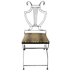 Italian Neoclassical Iron and Bronze Lyre-Back Chair