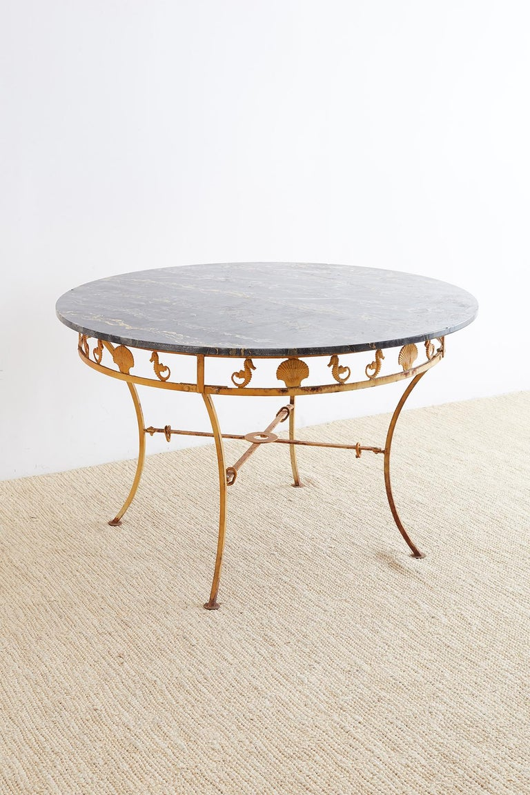 American Molla Neoclassical Iron and Marble Garden Patio Table For Sale