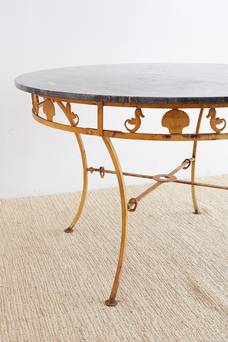 Painted Molla Neoclassical Iron and Marble Garden Patio Table For Sale