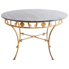 Italian Neoclassical Iron and Marble Garden Patio Table