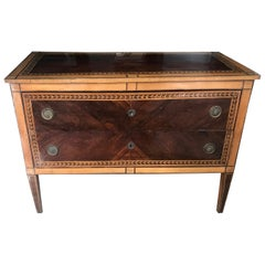 Italian Neoclassical Lemonwood and Amaranth Chest of Drawers Commode