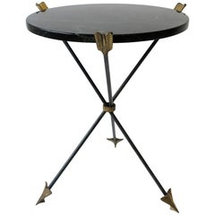 Italian Neoclassical Marble and Brass Tripod Side Table or Guéridon