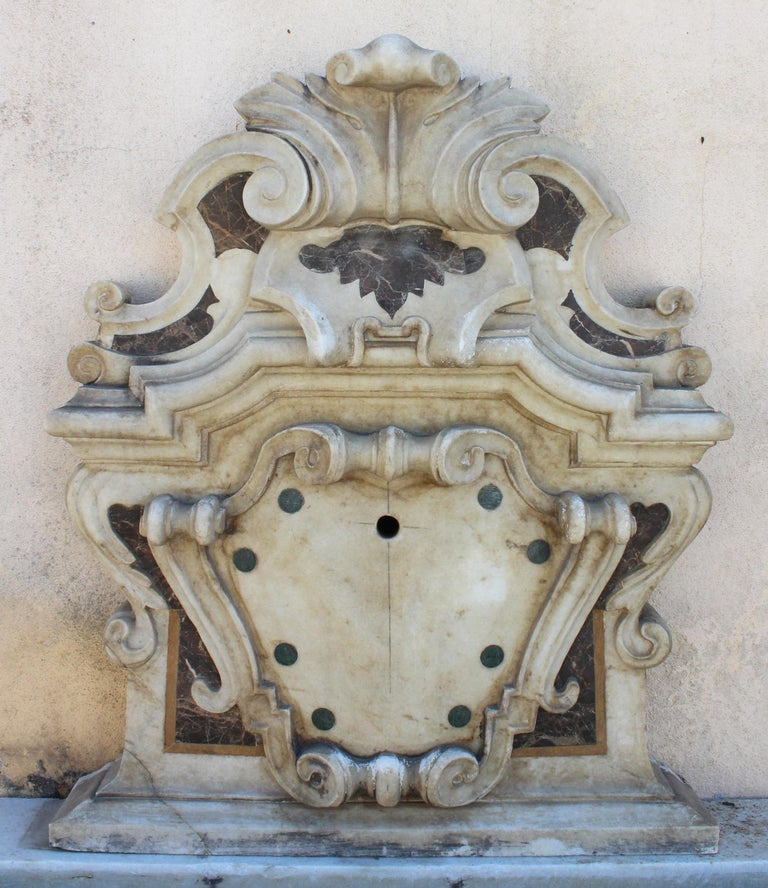 Hand-Carved Italian Neoclassical Marble Inlay Wall Fountain For Sale