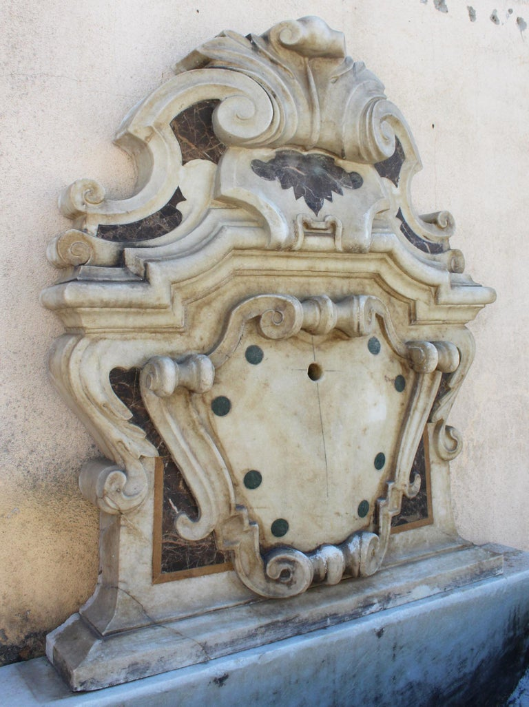 Italian Neoclassical Marble Inlay Wall Fountain For Sale 2