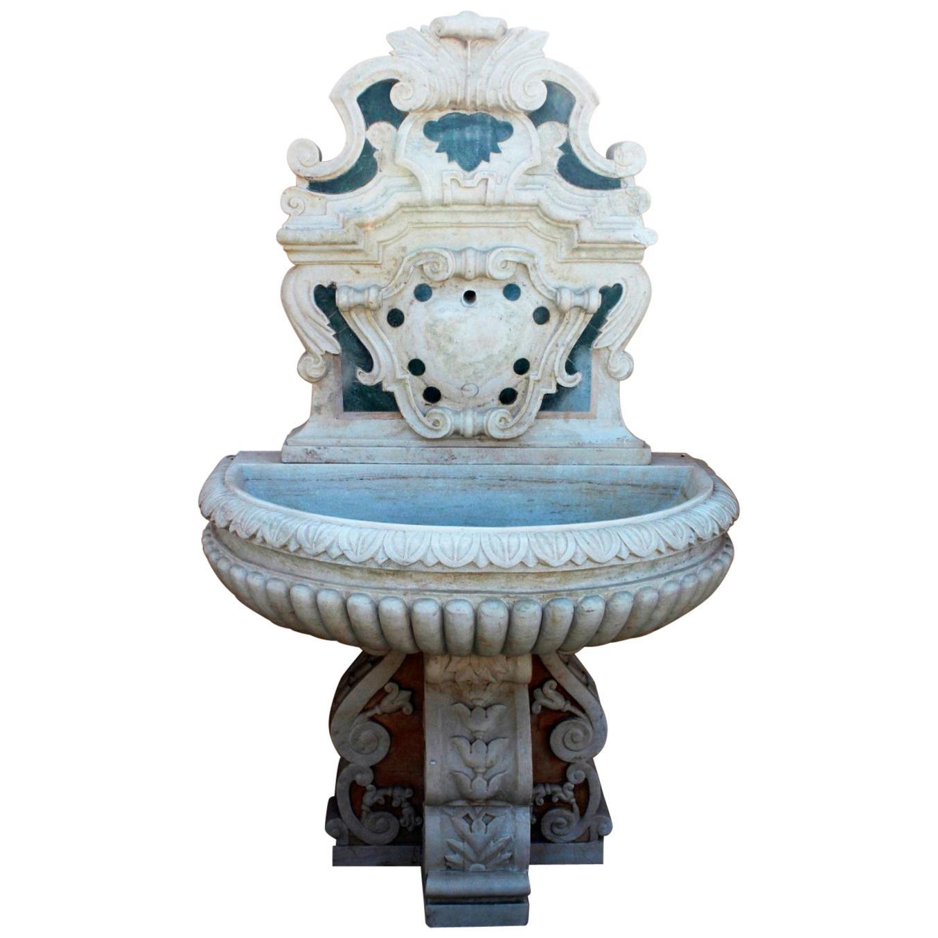 Italian Neoclassical Marble Inlay Wall Fountain