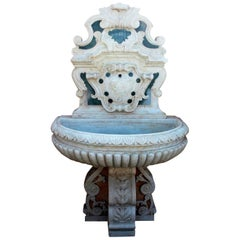 Italian Neoclassical Marble Inlay Wall Fountain