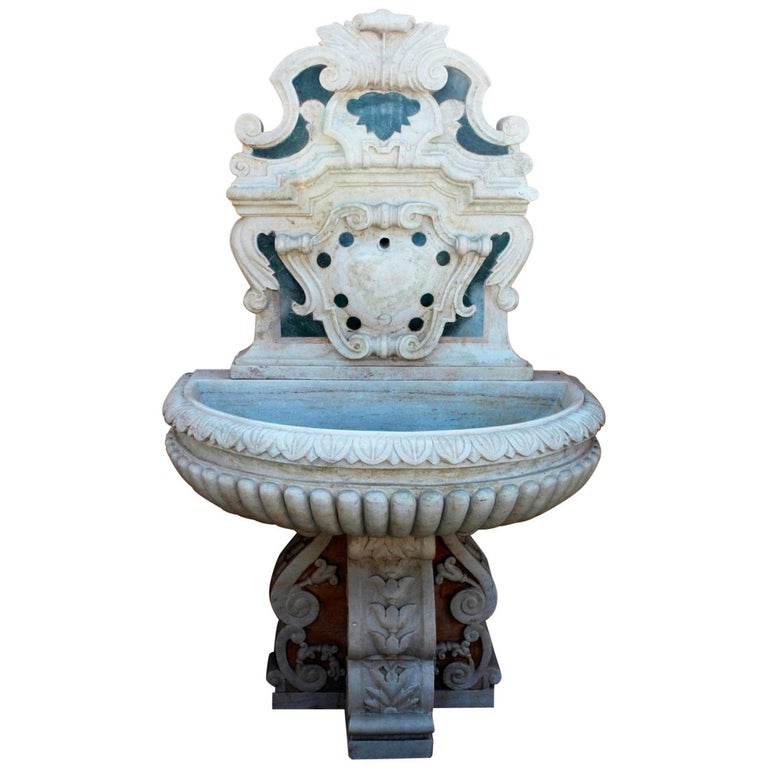 Italian Neoclassical Marble Inlay Wall Fountain For Sale