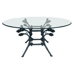 Italian Neoclassical Ornamental Wrought Iron Center Table with Oval Glass Top