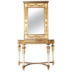 Italian Neoclassical Painted Giltwood Demilune Console with Matching Mirror