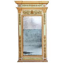 Italian Neoclassical Parcel-Gilt Trumeau Mirror, circa 1790