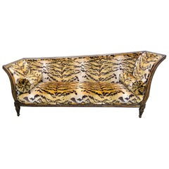 Italian Neoclassical Parcel Giltwood Récamier in Scalamandré Tiger Velvet