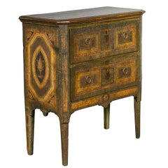 Italian Neoclassical Period Two-Drawer Commode with Painted Motifs, circa 1800