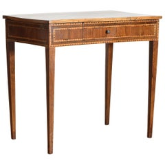 Italian Neoclassical Period Walnut and Inlaid 1-Drawer Writing Table ca1820-1830