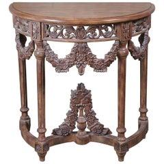 Italian Neoclassical Revival Demilune Console Hall Table Crescent Half Round