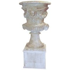 Italian Neoclassical Sculpture Hand Carved White Marble Vase after Versailles