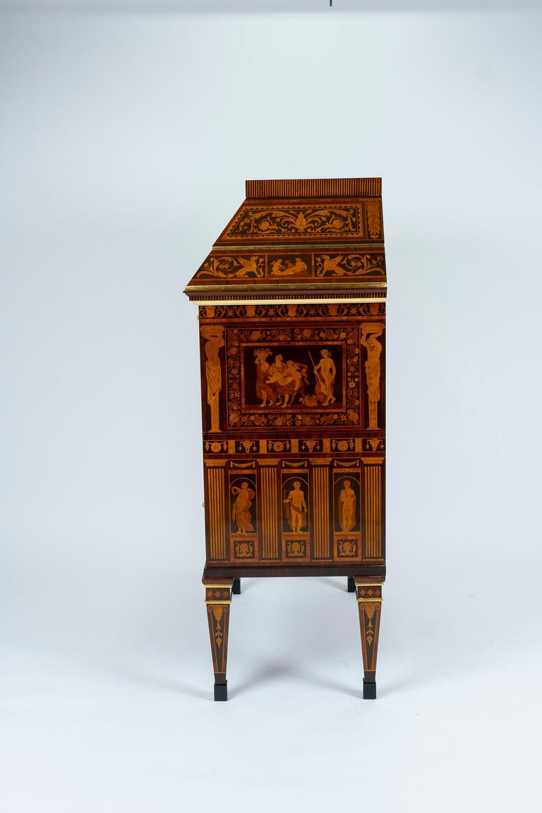 An important Italian neoclassical style secretary made with extraordinary craftsmanship of inlay and hardwoods.  Attribution: Famous artist Francesco Abbiati, originally from a small town near Lake Como created a feast for the senses, even before