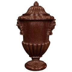 Italian Neoclassical St. Mid-19th Century Rosso Antico Marble Lidded Urn