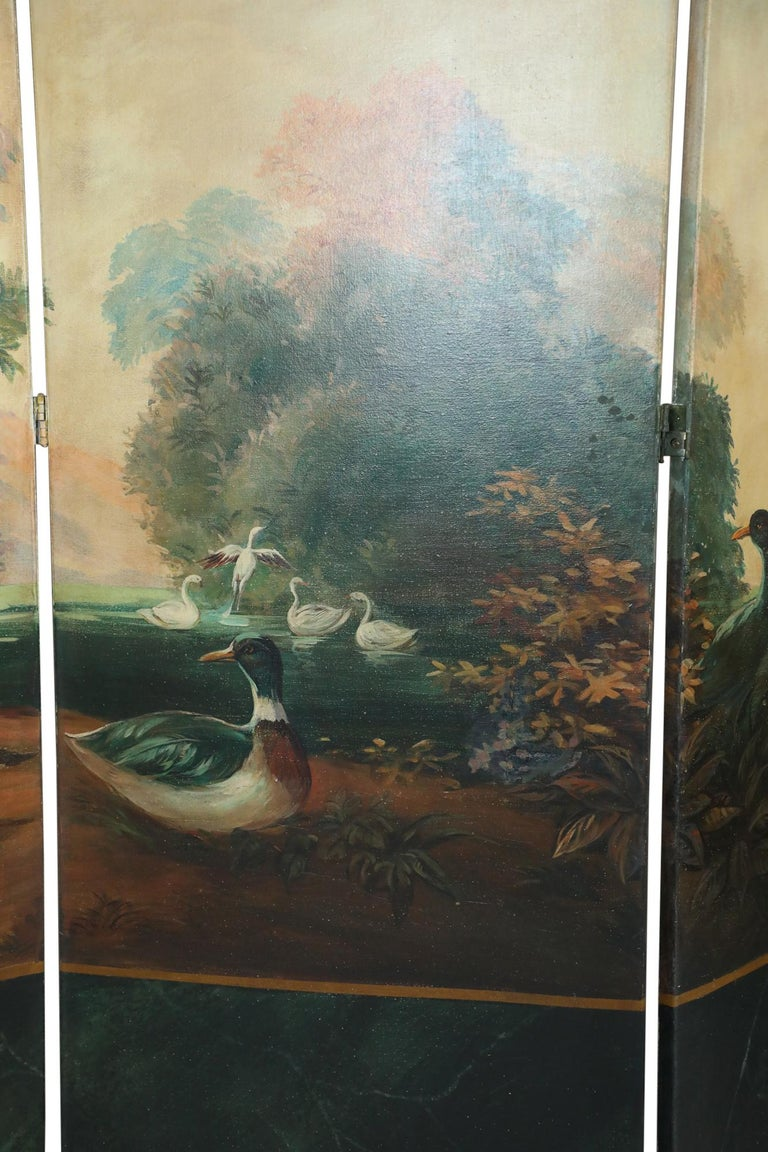 Italian Neoclassical Style Bird and Garden Vignette Folding Screen In Good Condition For Sale In New York, NY