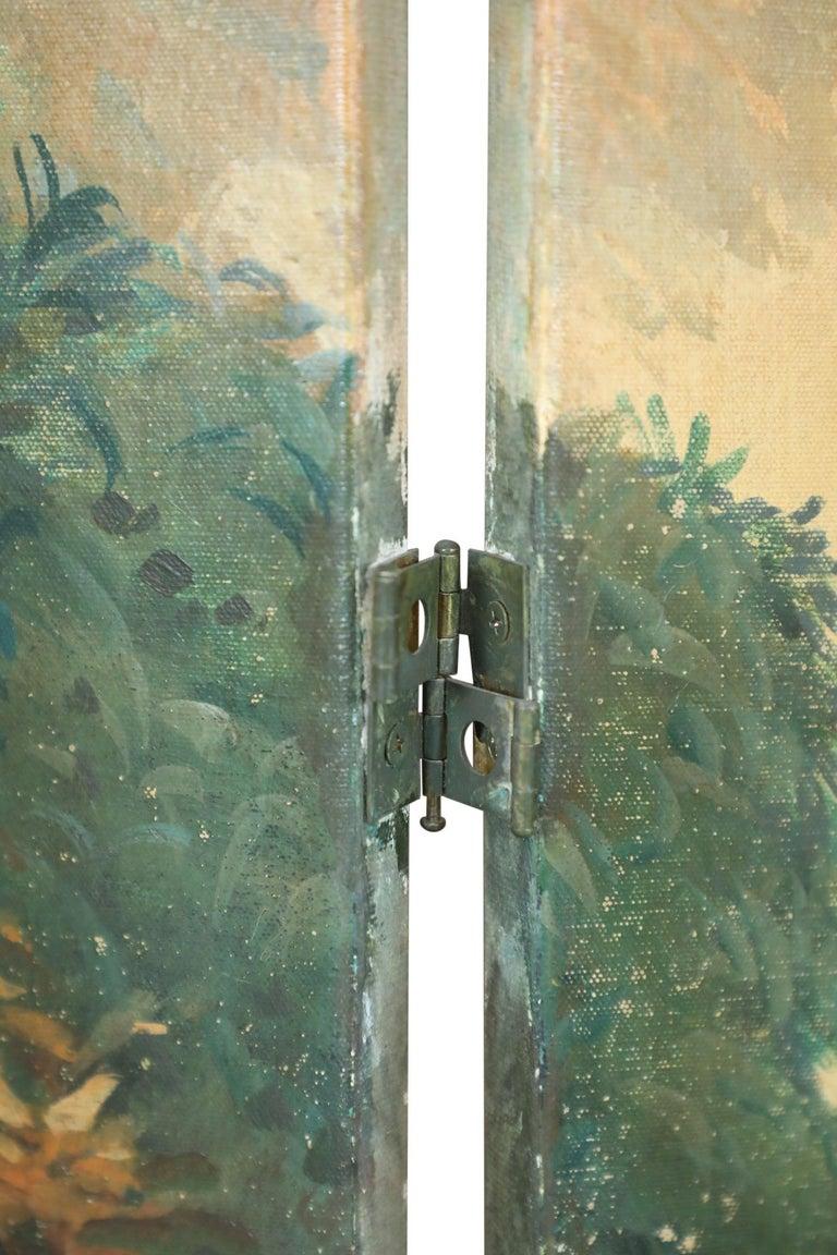 Italian Neoclassical Style Bird and Garden Vignette Folding Screen For Sale 1