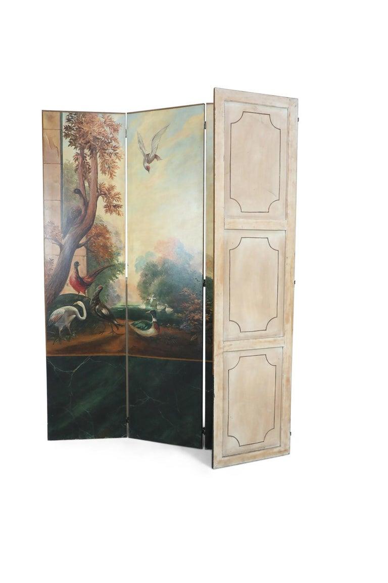 Italian Neoclassical Style Bird and Garden Vignette Folding Screen For Sale 3